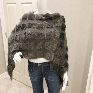 Anama gray cozy  poncho with fringe